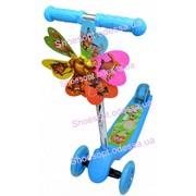 Самокат детский трехколесный с ветрячком голубой,  розовый  колеса свет